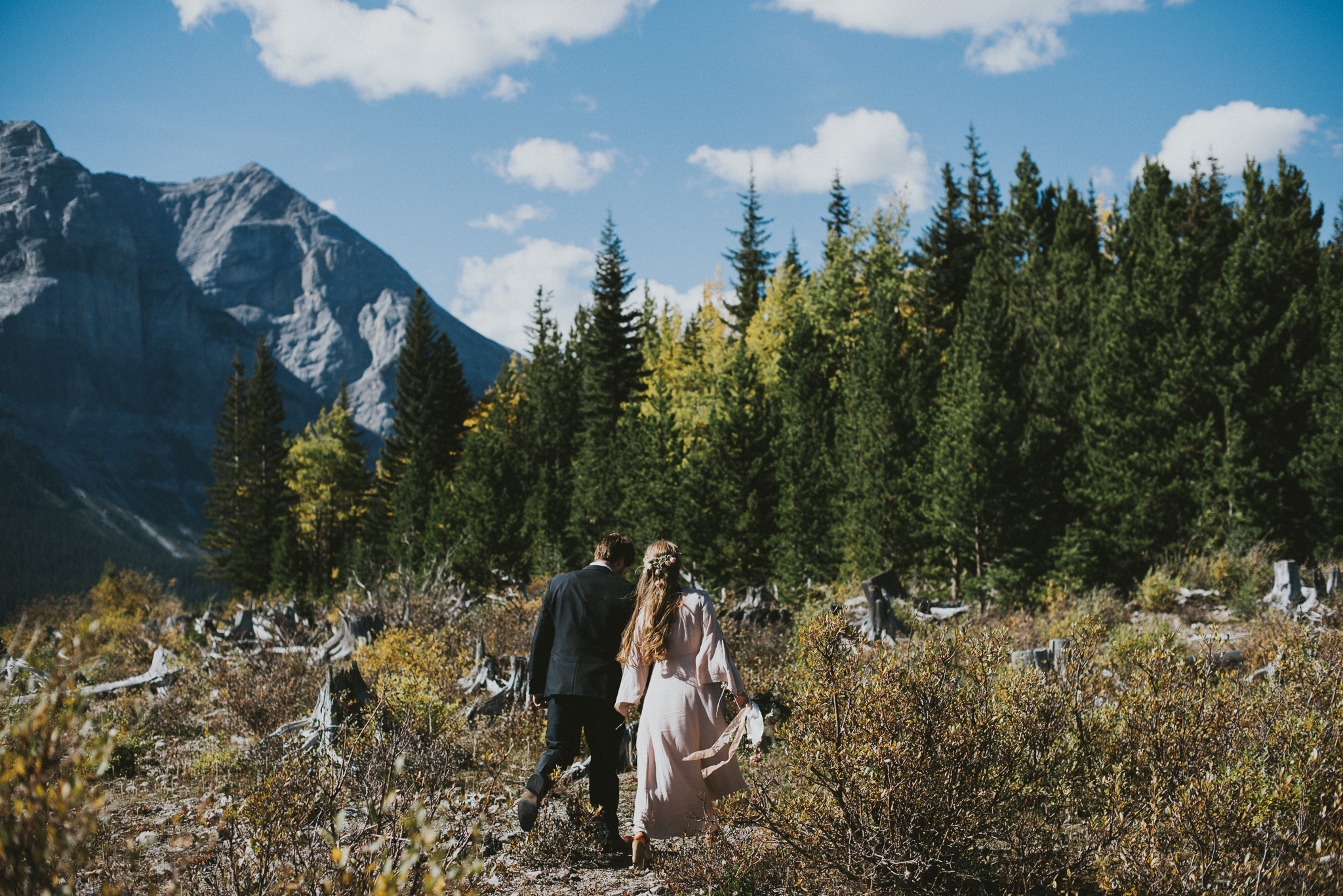 bride groom walking field kananaskis elopement
