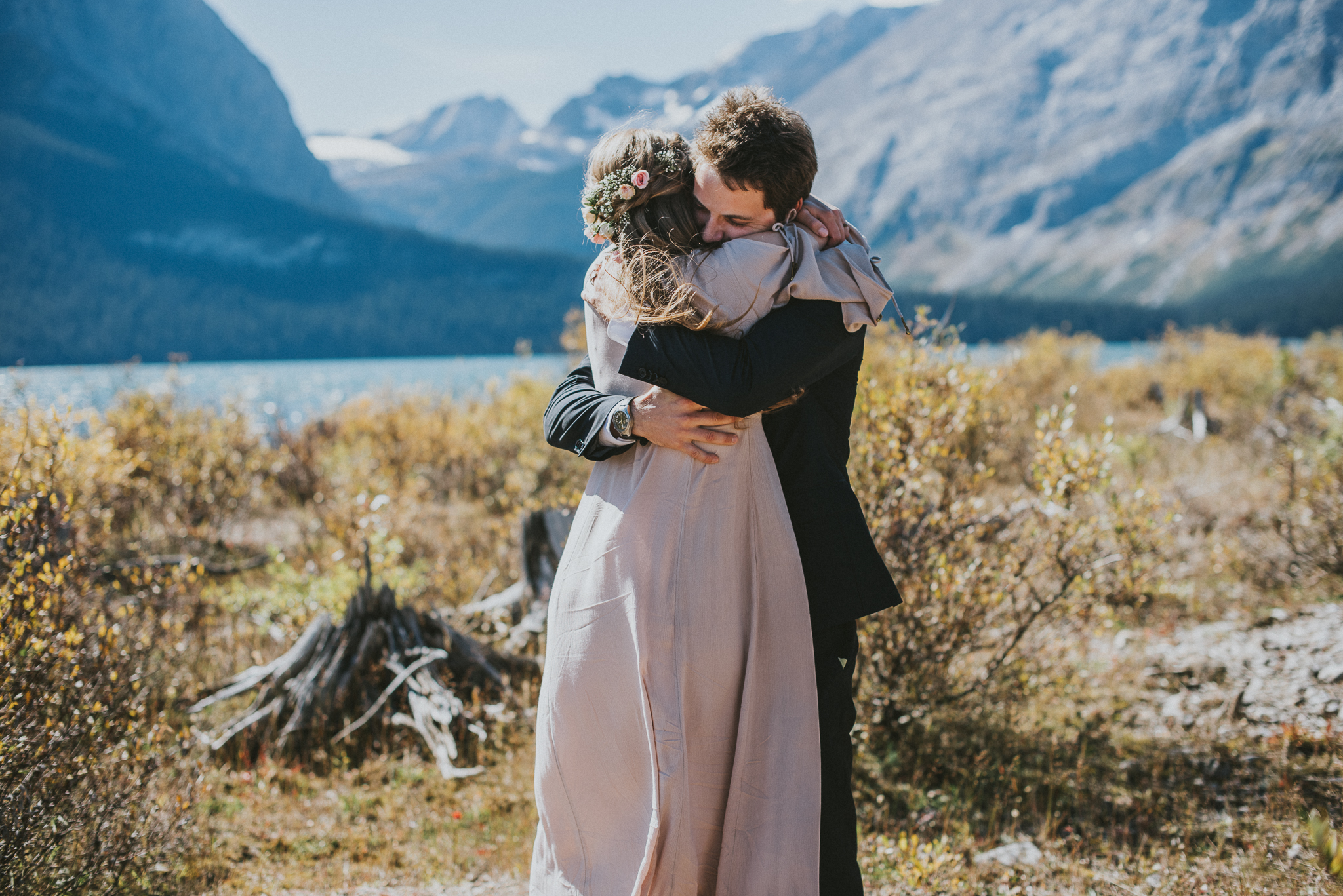 bride groom hug kananaskis elopement
