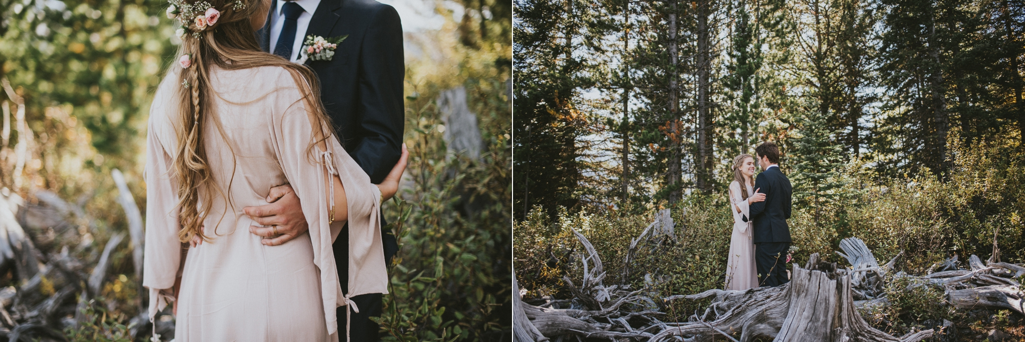 bride groom hug portrait kananaskis elopement