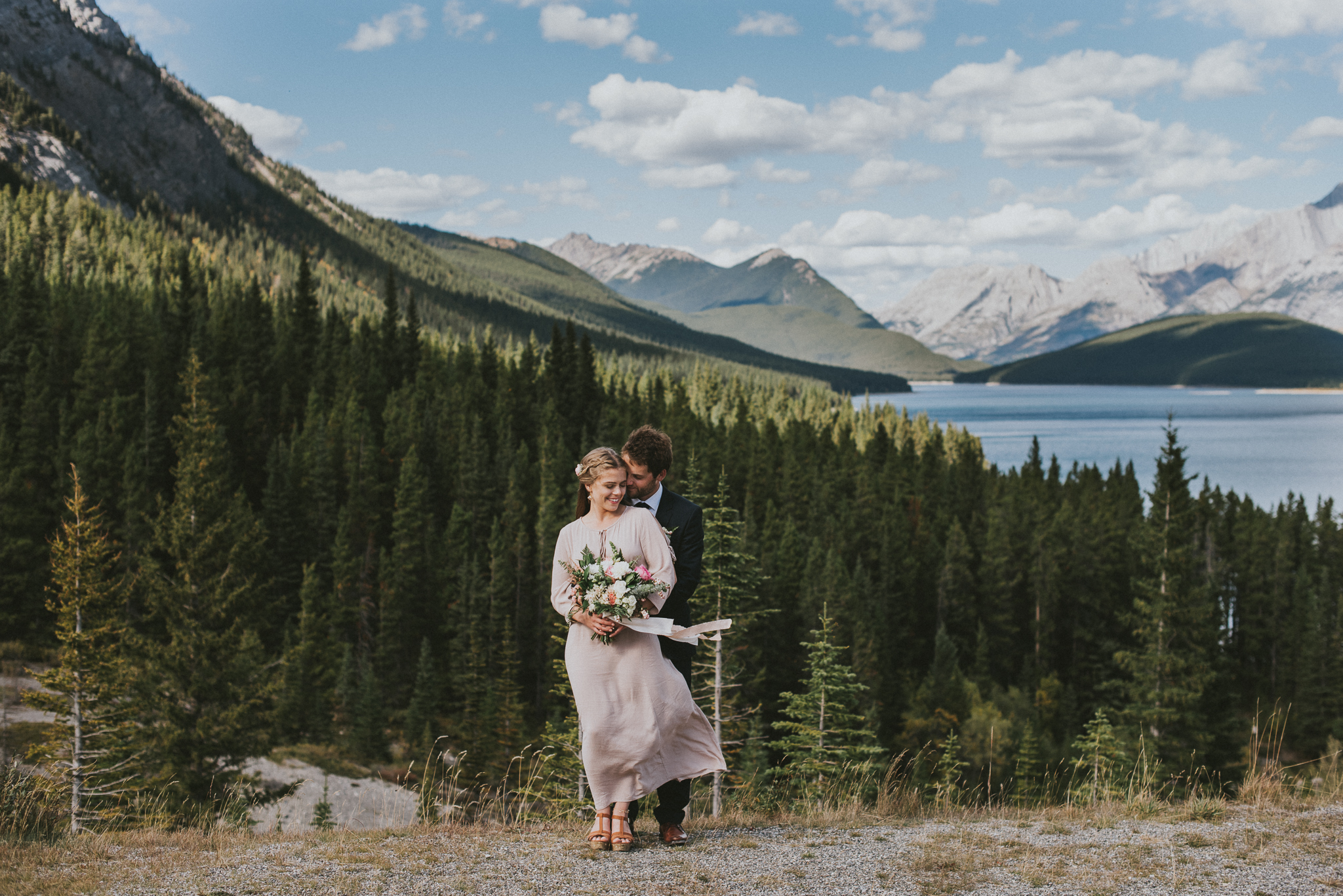 kananaskis mountain view bride groom portrait