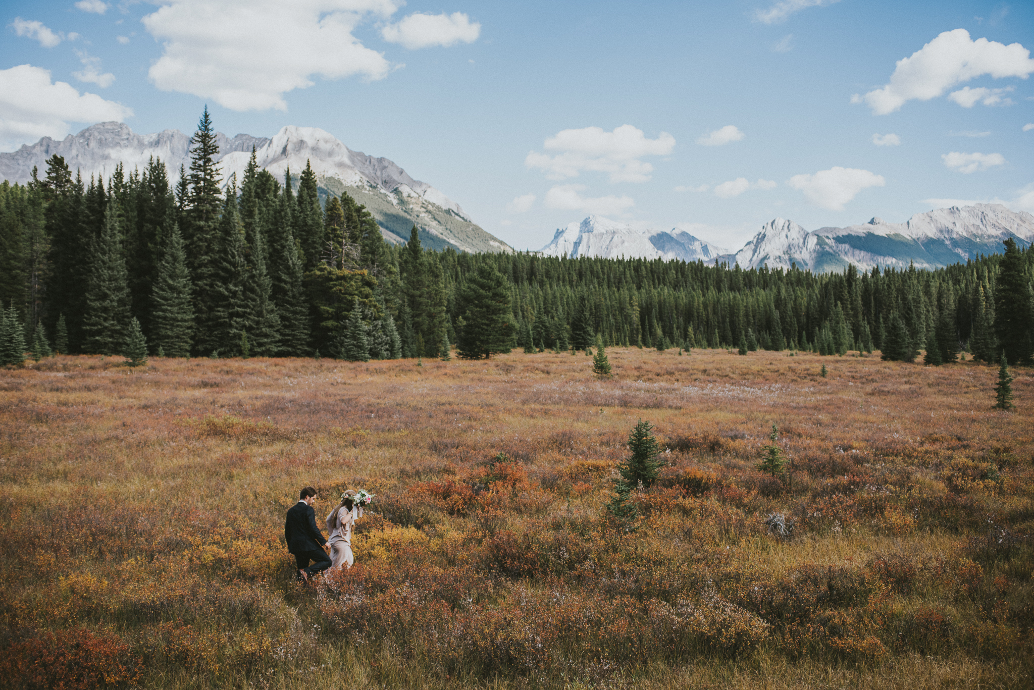 kananaskis field mountain couple elopement walk