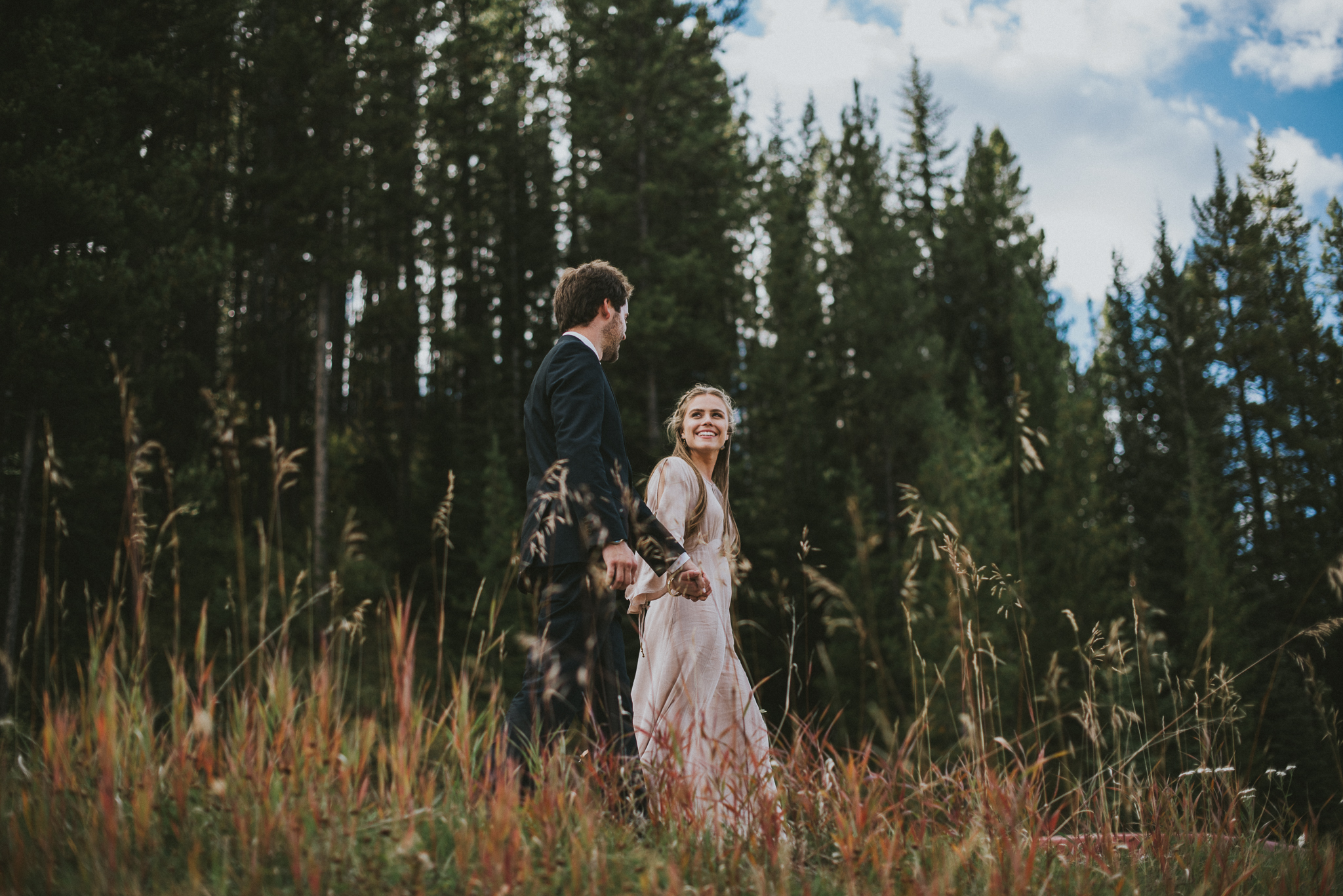 bride look groom field elopement kananaskis