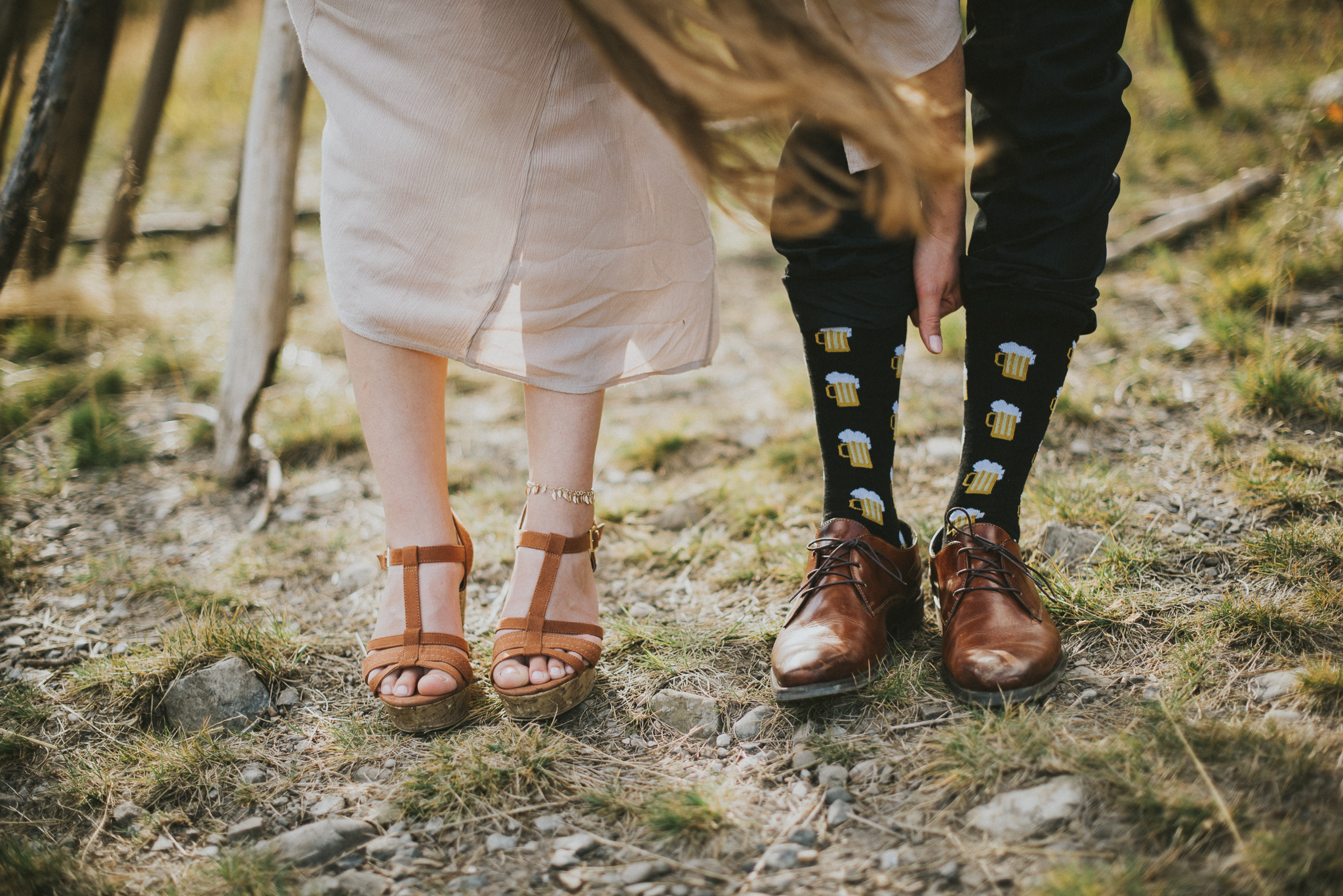 bride groom shoes socks detail portrait kananaskis elopement