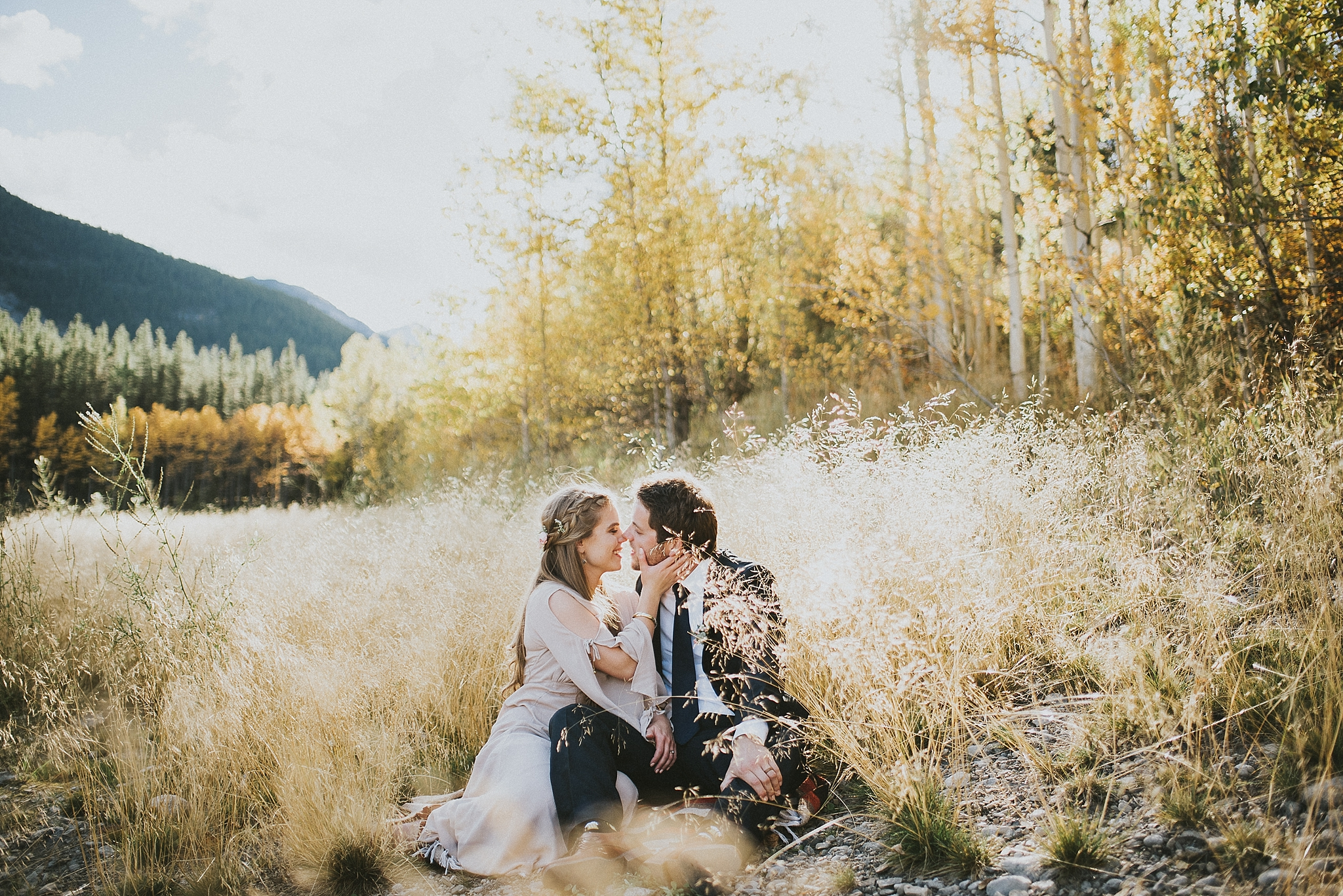 bride groom kiss field elopement portrait kananaskis