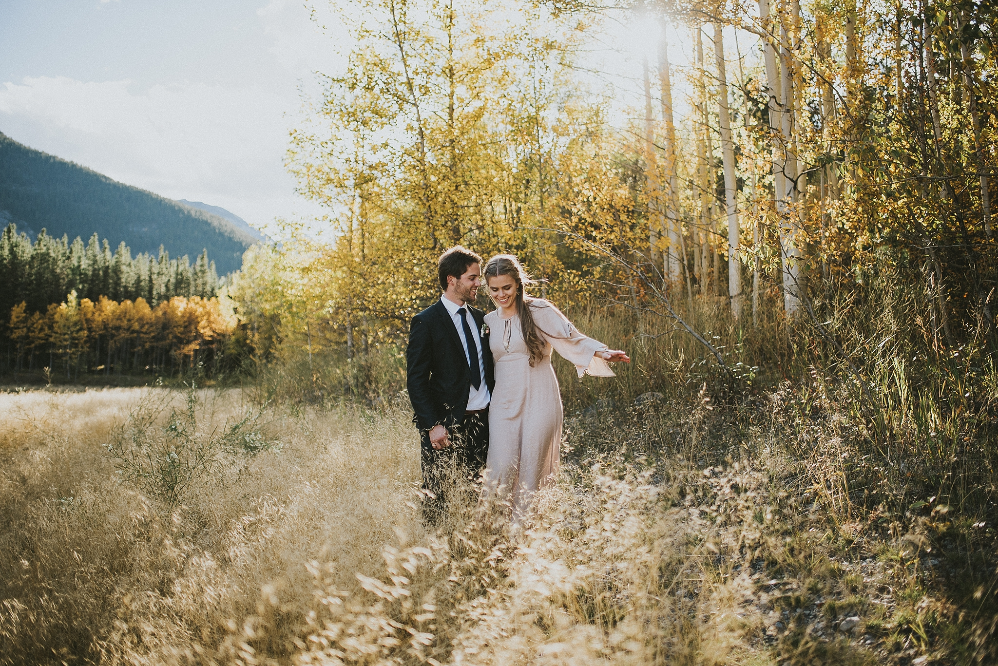 bride groom field smile portrait kananaskis
