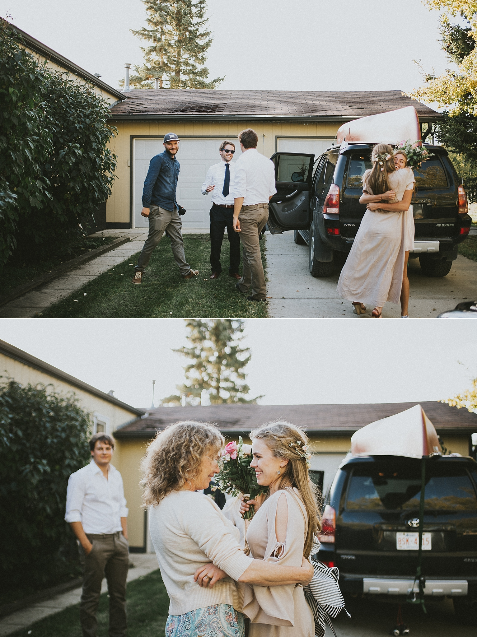 bride groom candid moment guests family kananaskis