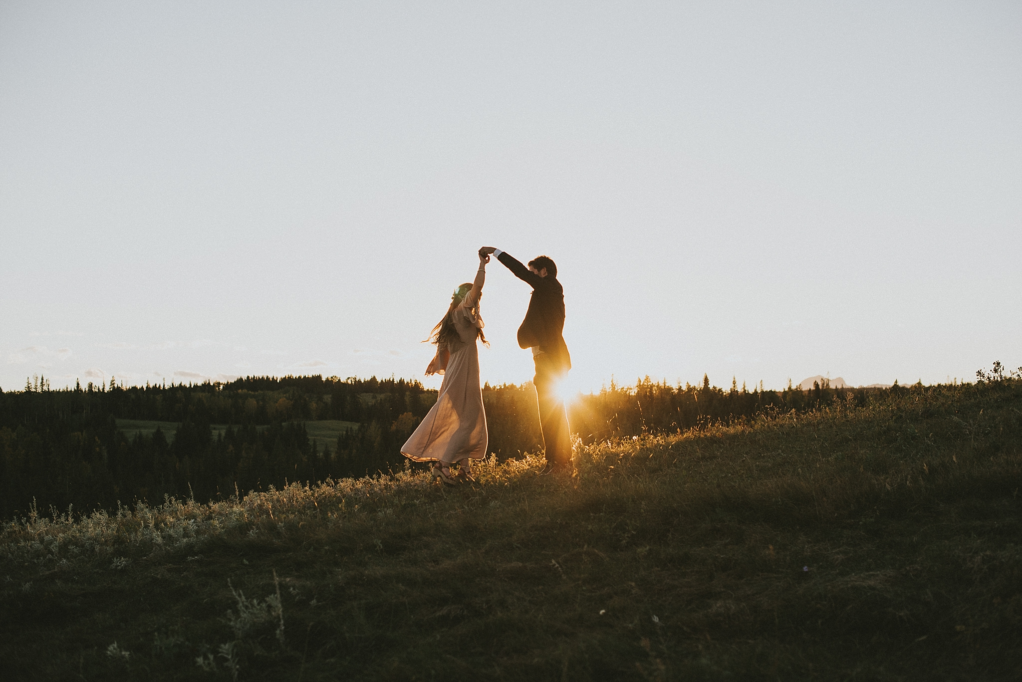 kananaskis elopement sunset bride groom dance spin