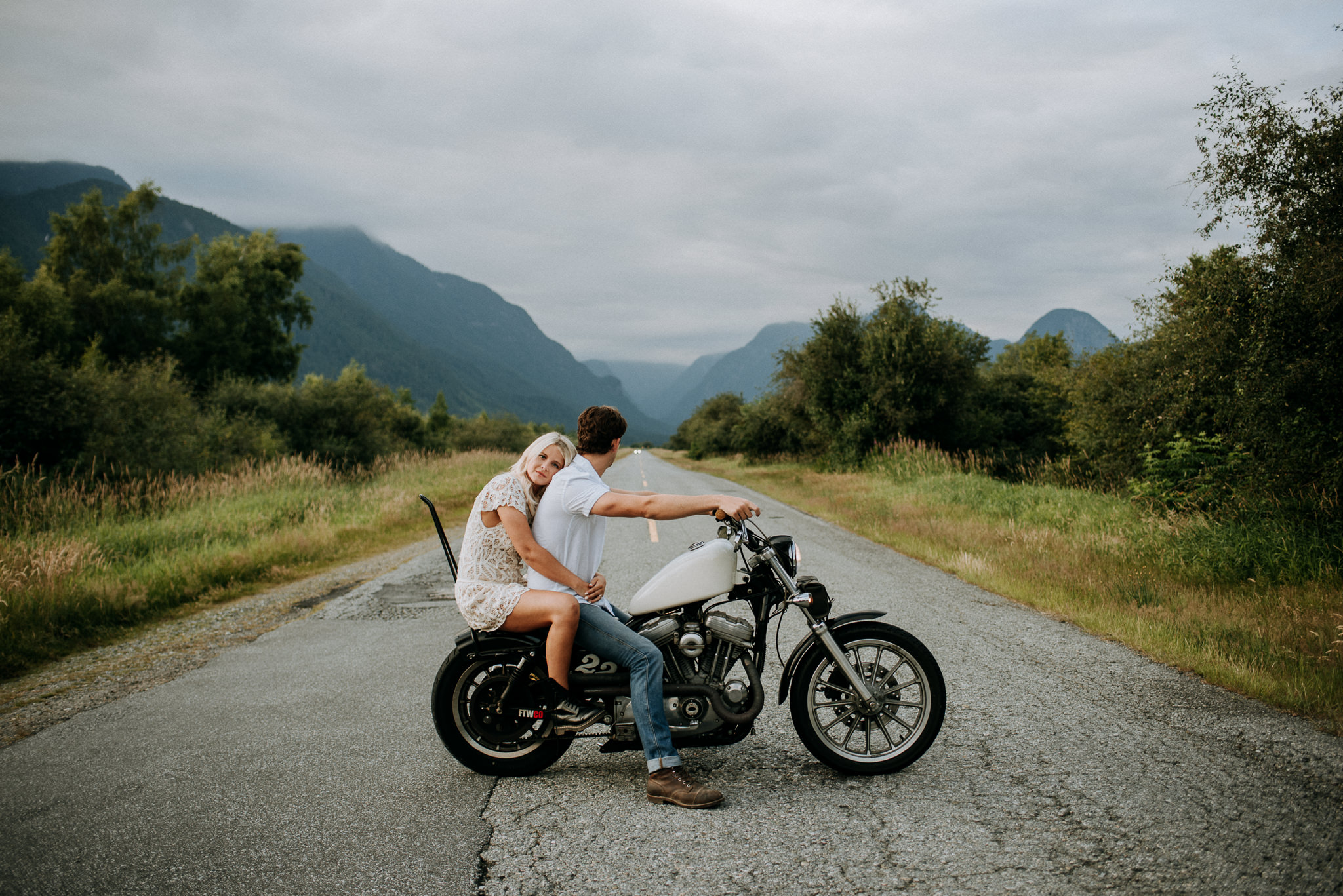 pitt lake engagement couple on motorcycle