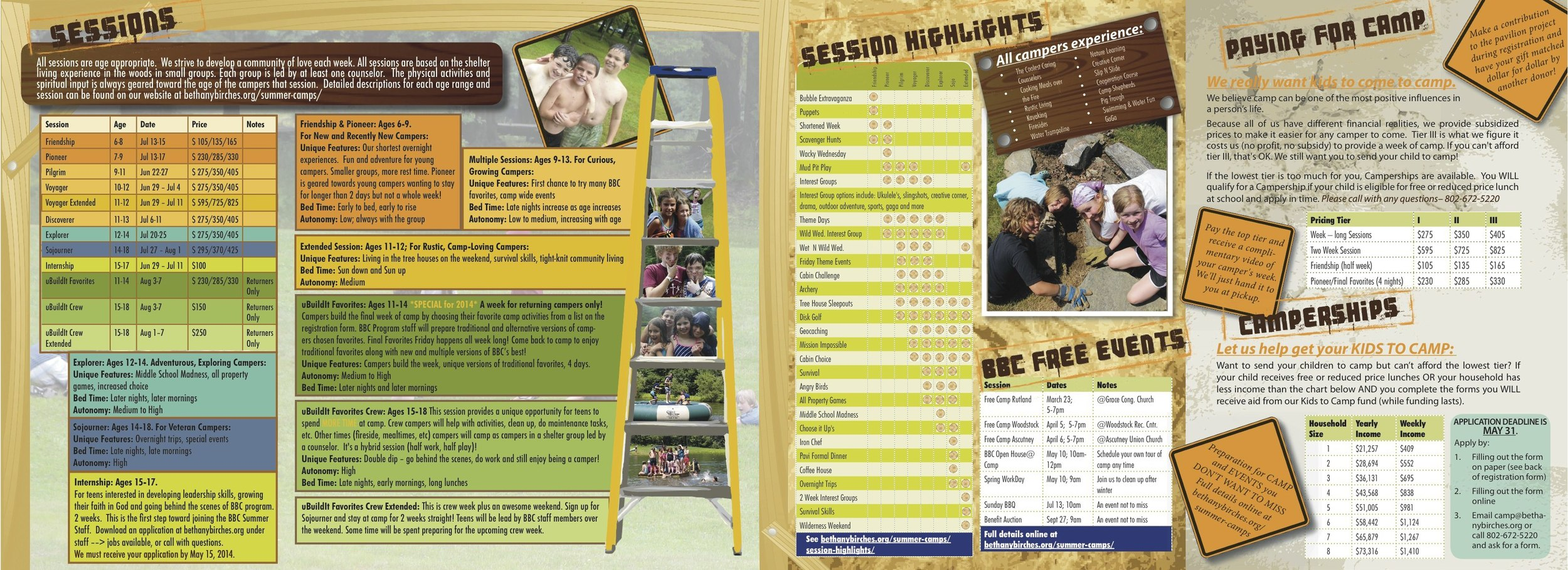 Summer camp brochure (inside)