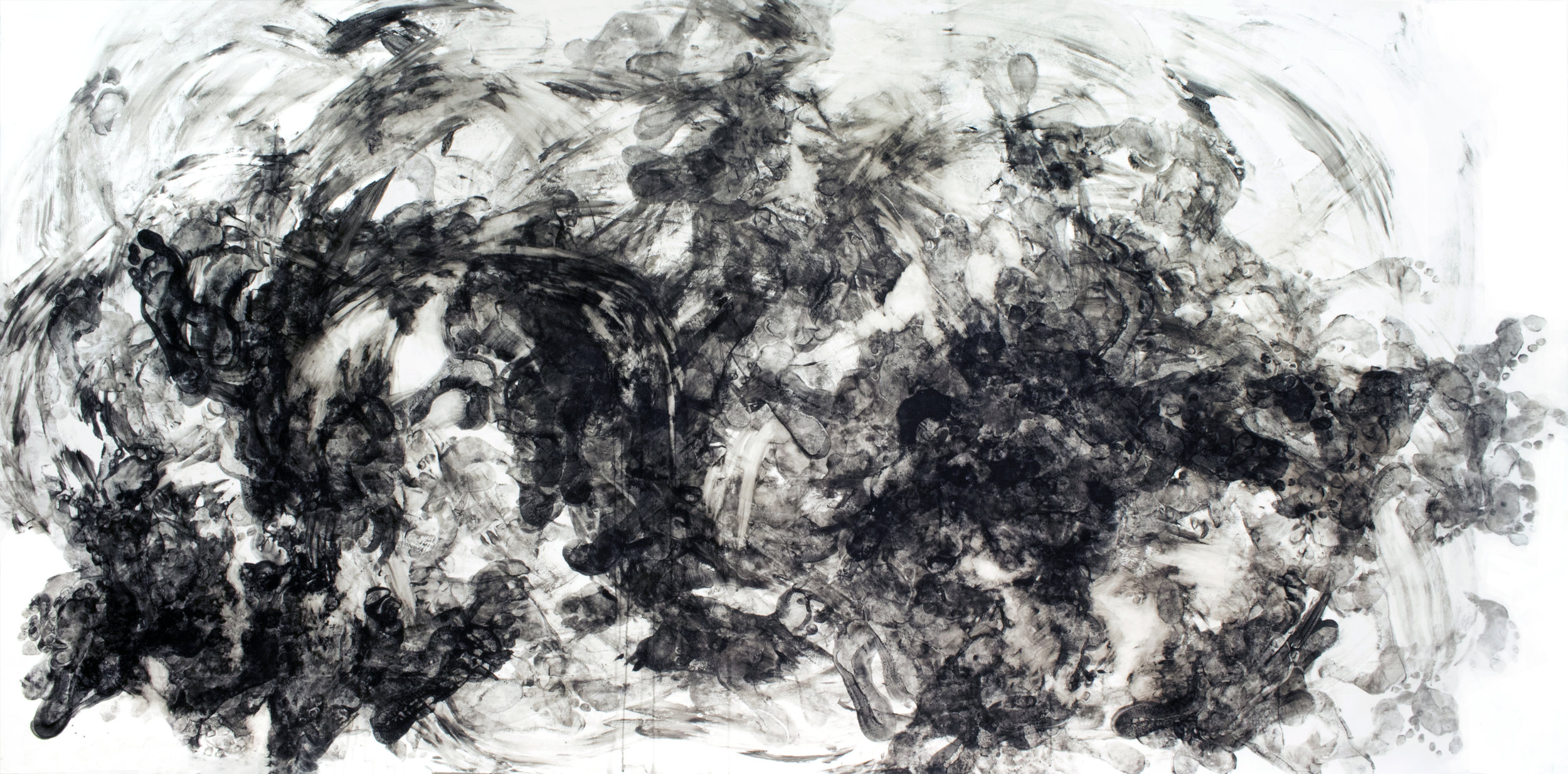 The Aftermath , 4x9ft, ink on paper