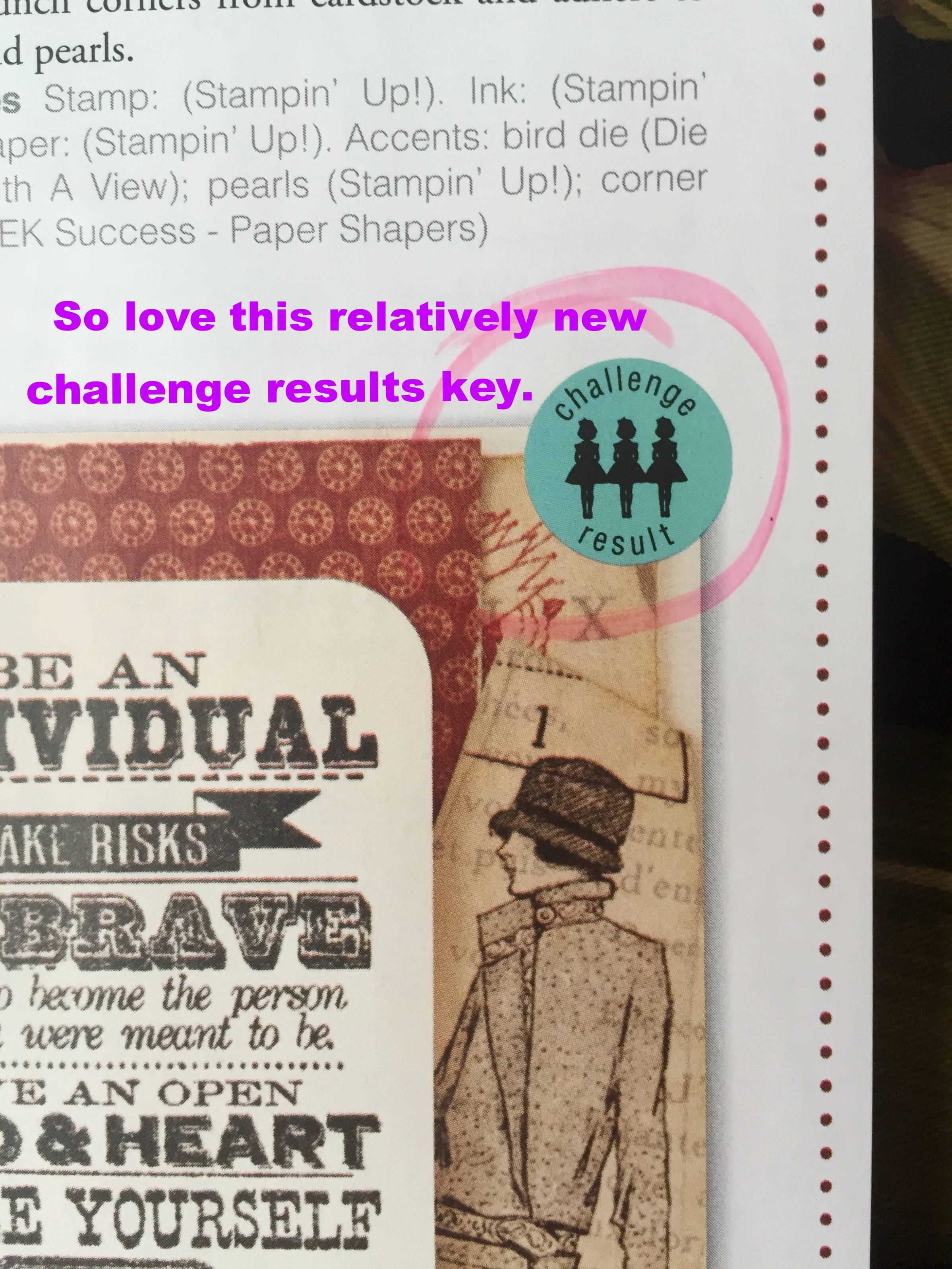 Challenge Results Key - Inside the pages.