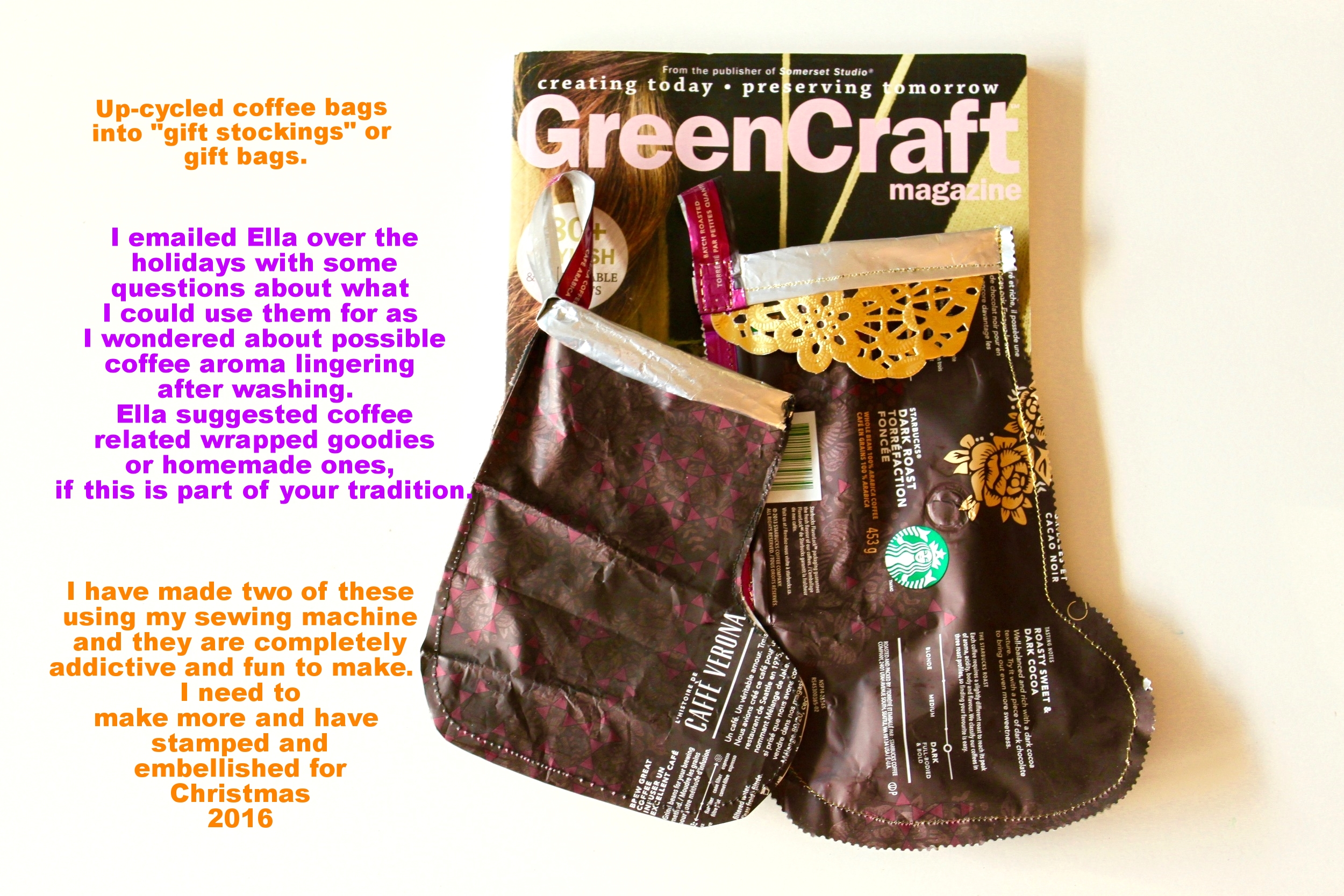 Coffee Bags Up-cycled into gift bags for Christmas goodies
