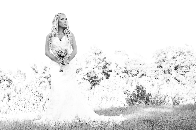 Bride in a field
