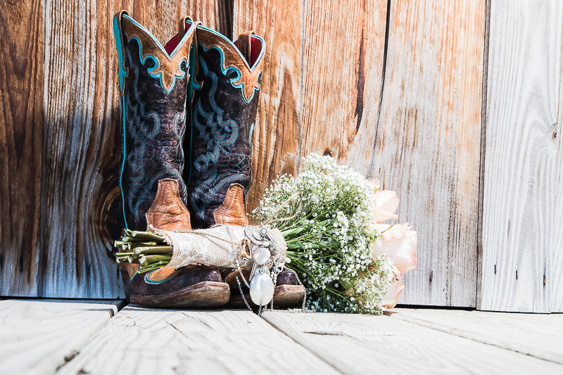 Bride's Boots and Bouquet