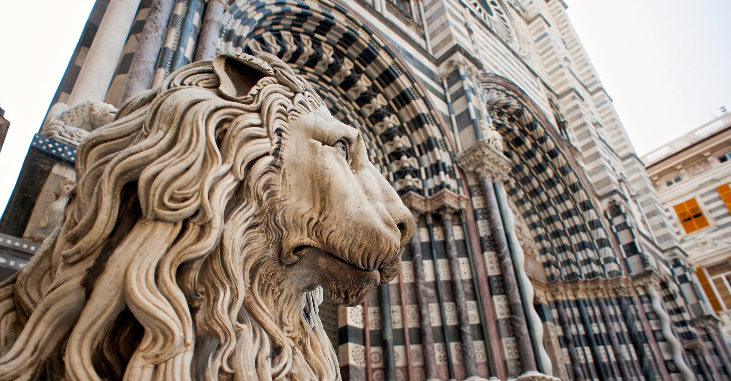 This proud lion protects Genoa's Church of San Lorenzo