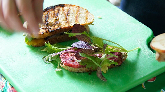 Grilled Beet, Apple & Arugula Sandwiches