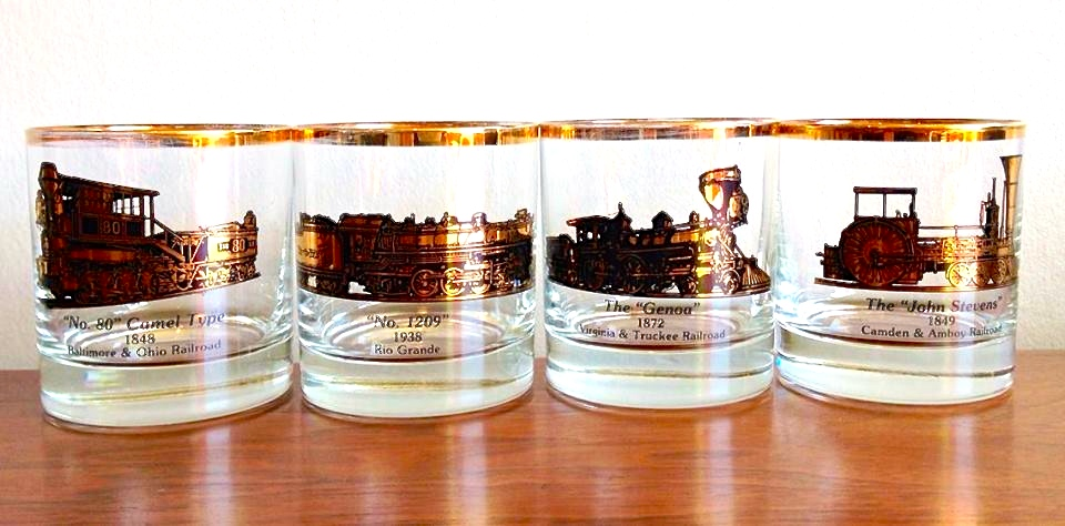 Set of 4 low ball glasses featuring vintage locomotives | $32