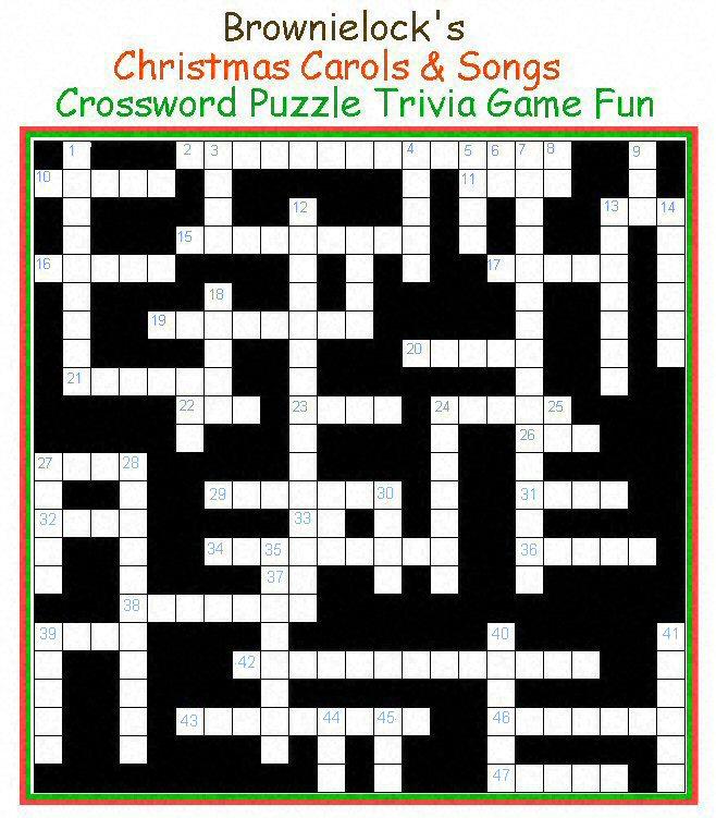 Brownielock S Christmas Carols Songs Crossword Puzzle Spirited Table