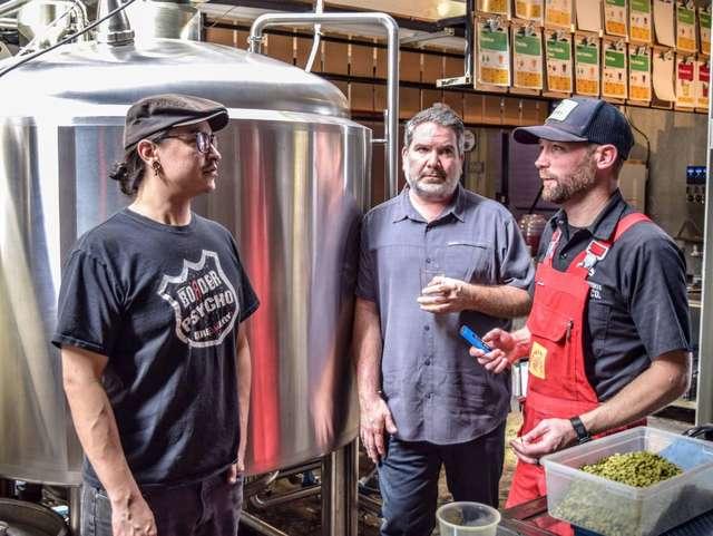 Ramon Cruz Fonseca and Javier Albarrán of Tijuana's Border Psycho collaborate with SouthNorte's Ryan Brooks |  Courtesy of SouthNorte Beer Co.