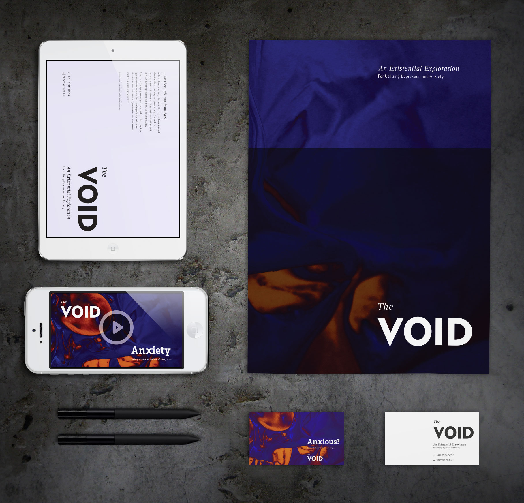The full design lay up / layout of the Void campaign and communications material.