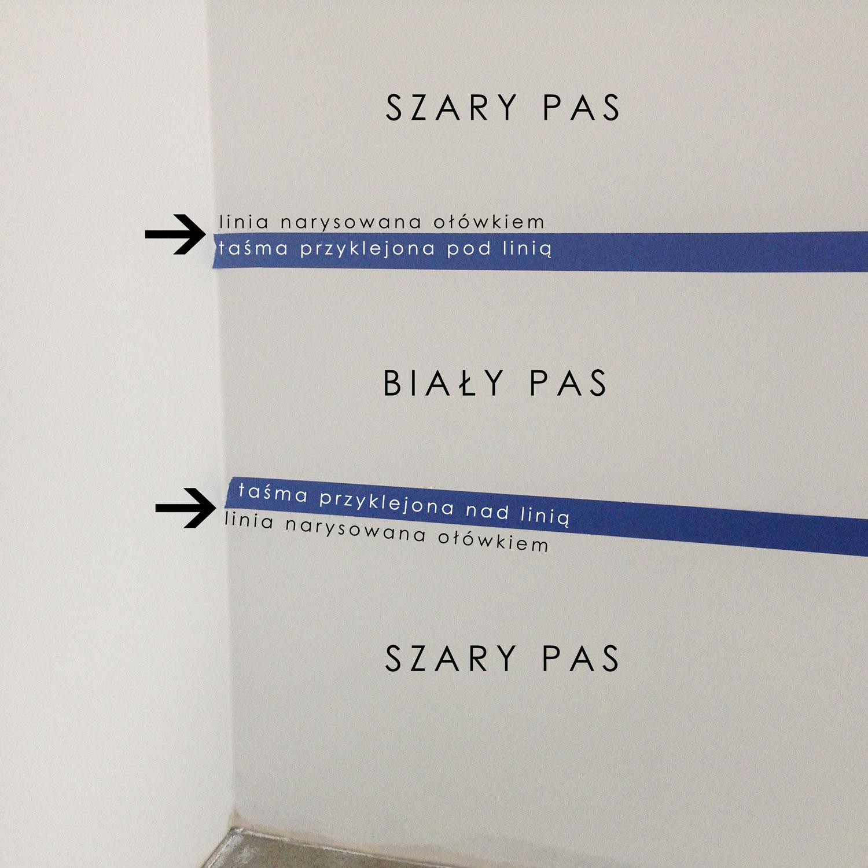 """- 5 -  należy odpowiednio przykleić taśmę w zależności od tego, które pasy malujemy. taśma będzie przyklejona od strony """"białego pasa"""", czyli farby podkładowej. dlatego na zmianę taśma jest raz nad narysowaną linią, a raz pod narysowaną linią."""