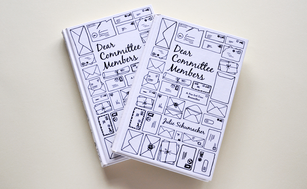Dear Committee Members   Hardback and paperback cover design for fiction title