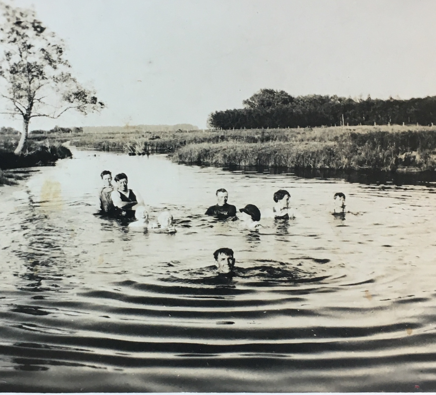 My grandfather enjoying a swim with his cousins.