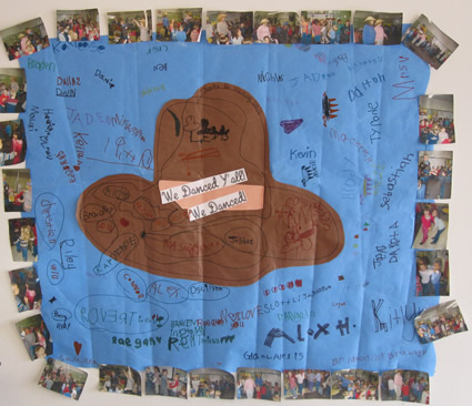 """""""Dance, Y'all, Dance Thank-you Quilt"""" from Hoover Elementary.  Click to expand photo."""