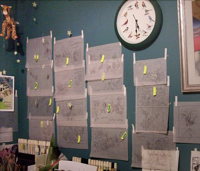 Here's her bulletin board of tissue paper sketches of the illustrations.