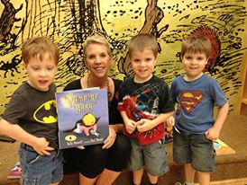 "Angie and ""Granny from Philly"" brought the triplets, Jacob, Ryan & Kevin, by for Storytime (and Granny asked where I got my hair cut, but didn't think it was worth the trip to my Trini hairdresser, Helen...)"