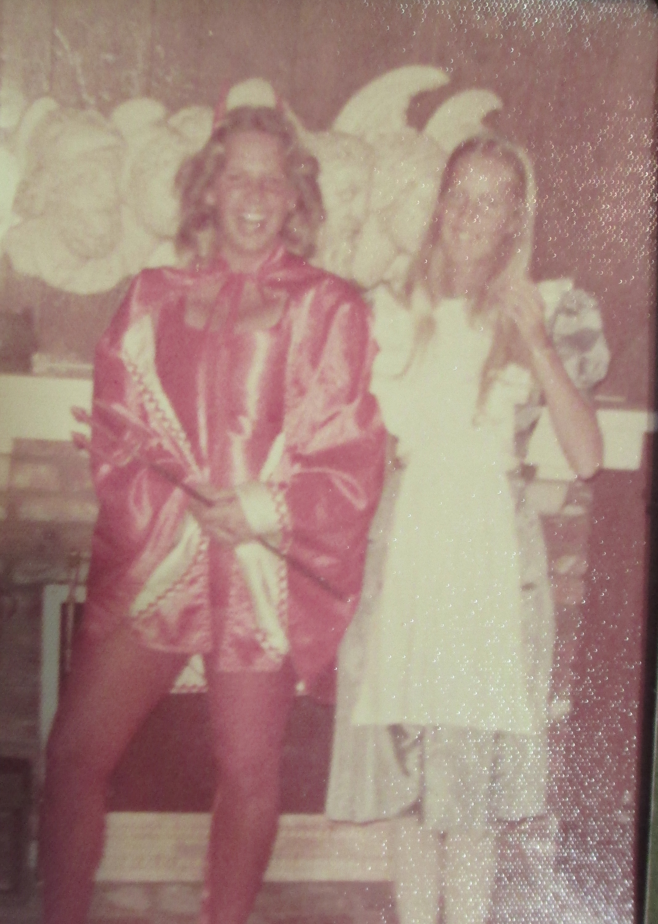 My BFF Valerie and I in High School. Thinking back, our costumes reflect our personalities, even back then. Valerie always was the nice one . . .