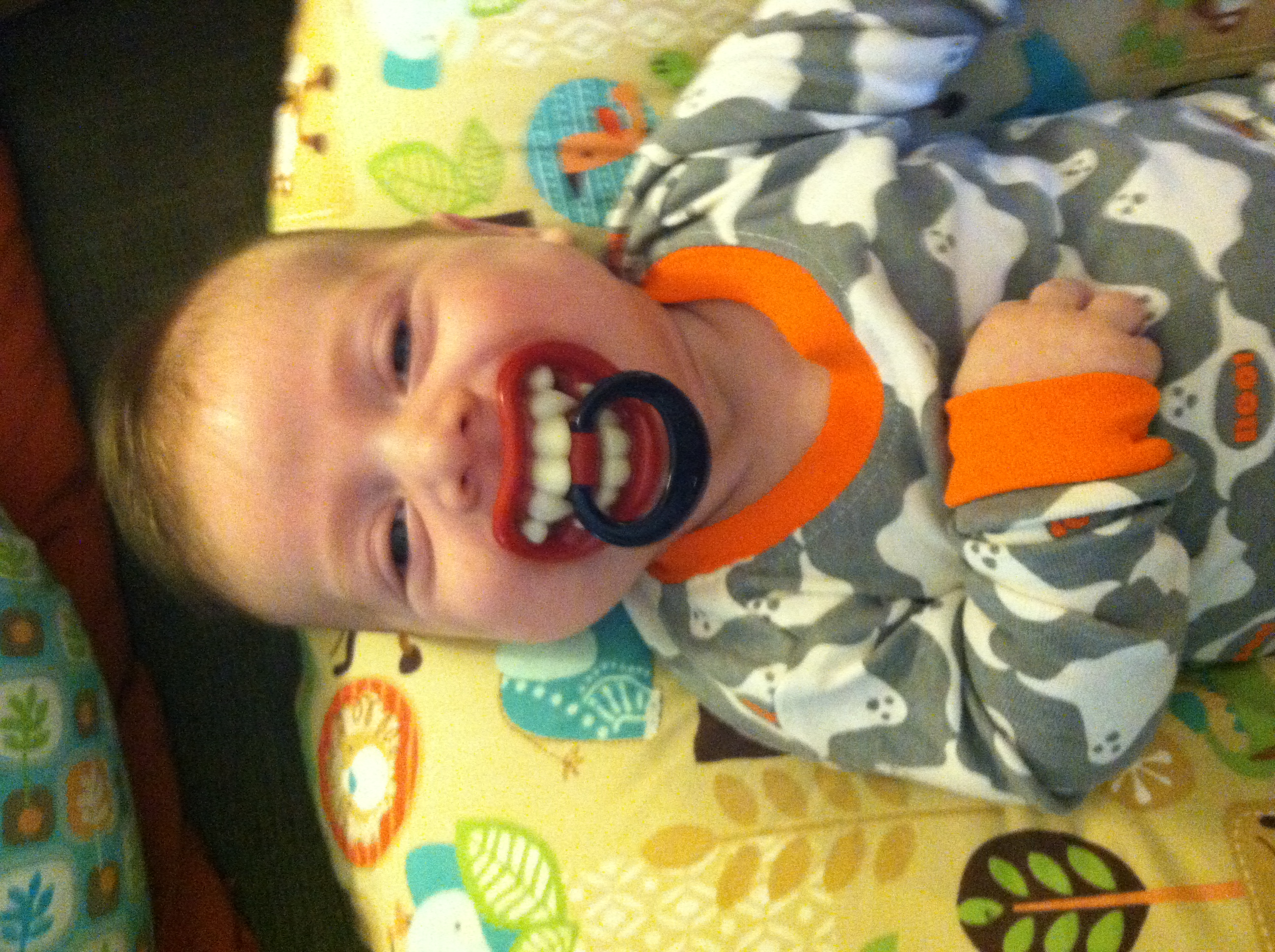 My grandson Bennett is holding with tradition.   Here's Vampire Baby!