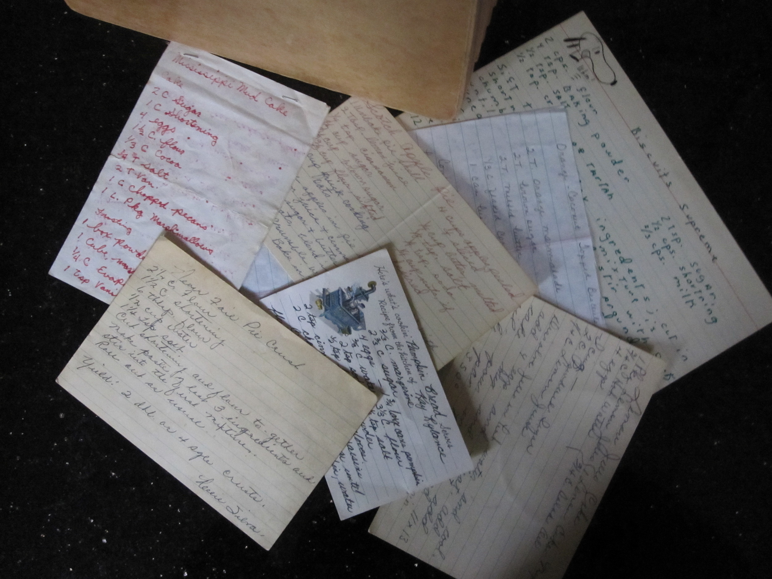 Hand written recipes are pure gold. A smudge of chocolate here, a crusty bit there, memories of the dear ones who wrote them on every card.
