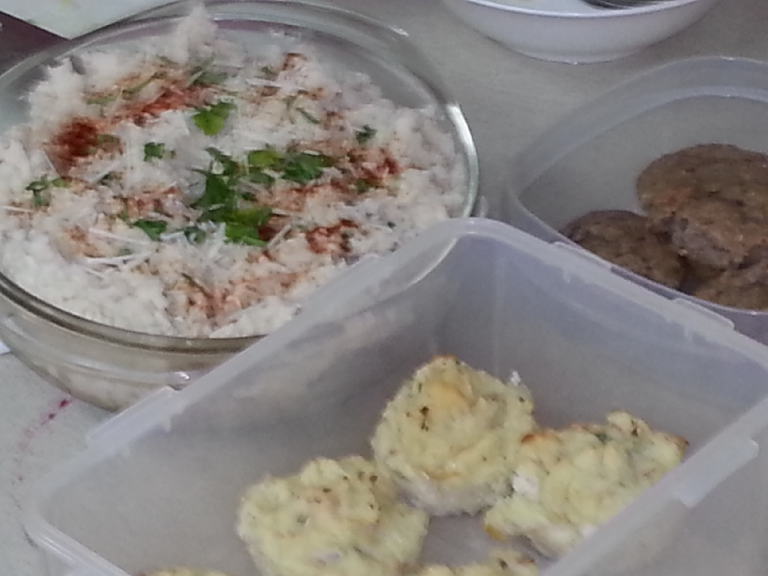 Potatoe Puffs, Turkey Shepherd's Pie, Cranberry Oat Pecan Muffins, Marinated Bean Salad (not shown)
