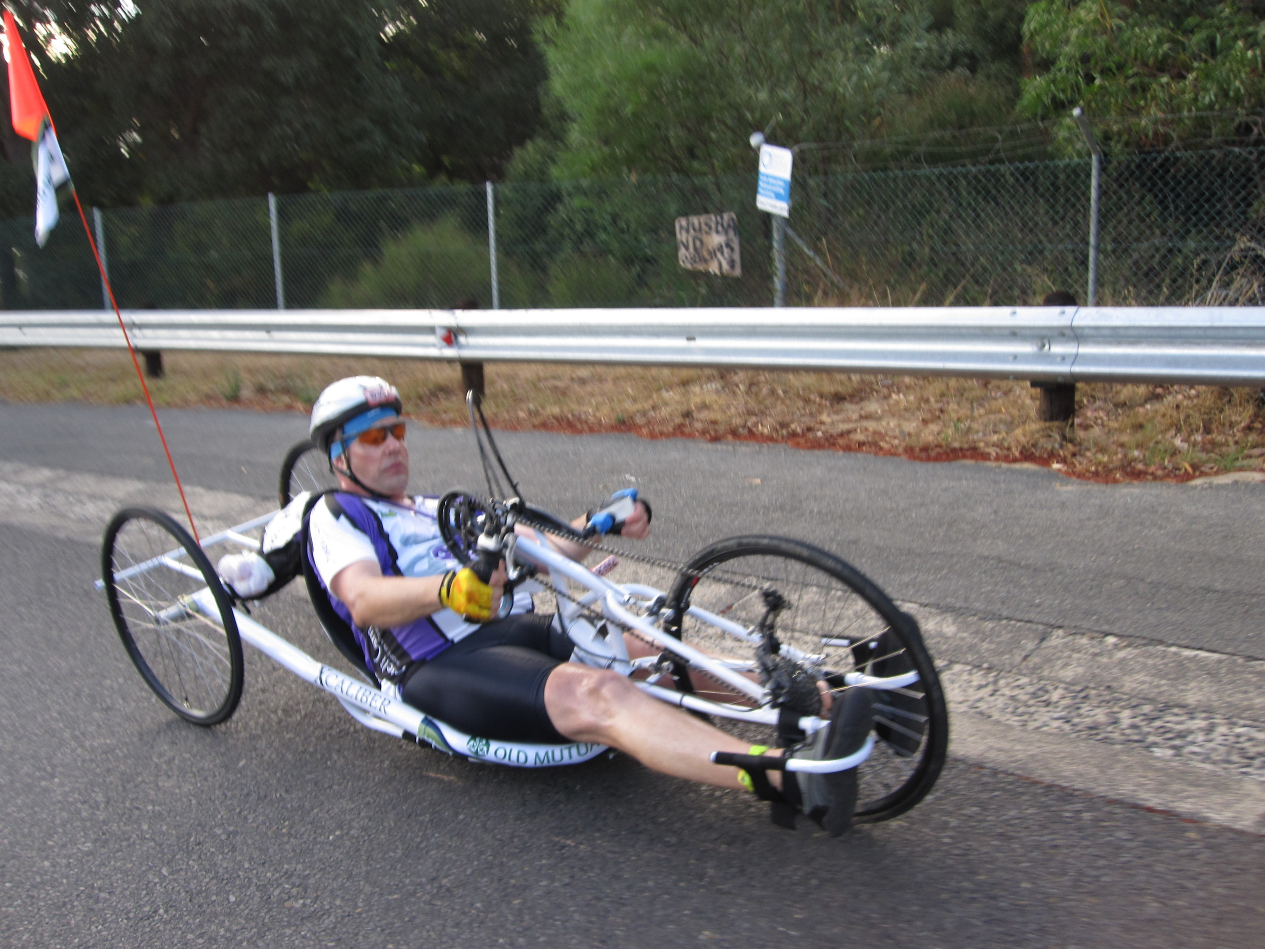 Recumbent bike riders pedal with their hands and arms.