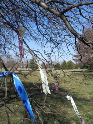 When our friend, Joy, moved away, the gals in our creativity group, wrote hopes for her and tied them to a tree to wish her well.