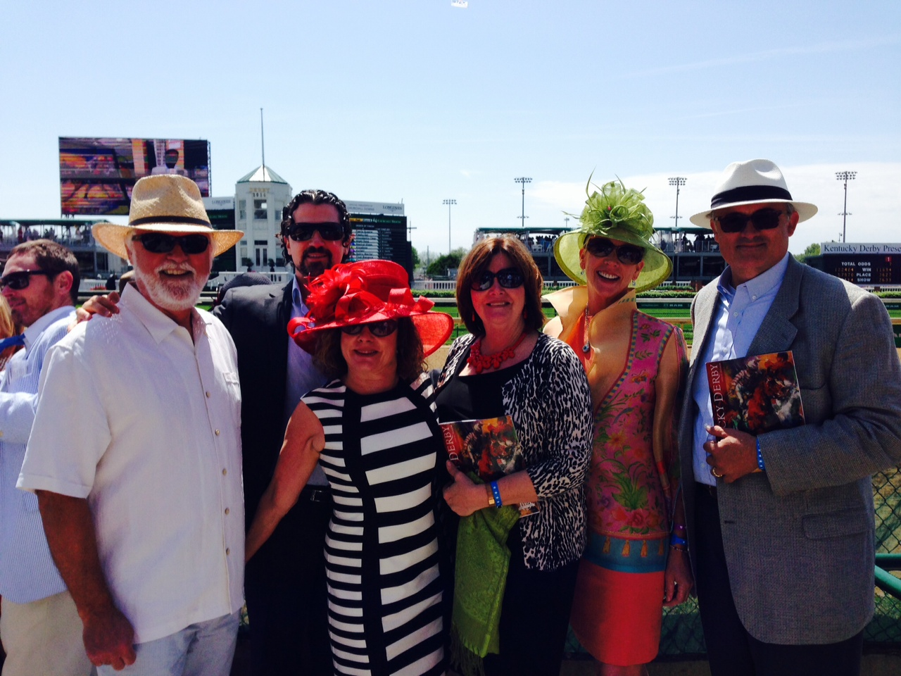 Kentucky Derby day was bright--so we posed at the finish line between races. L-R: Michael, Aaron, Joy, Donna, Kelly & Curtis