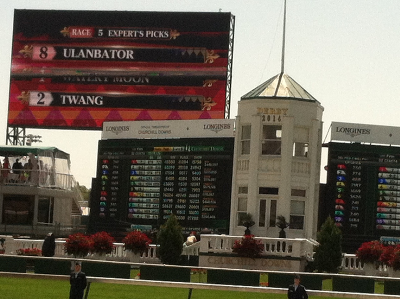 Our  box for Derby Day was right at the finish line.