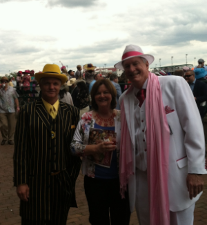 "Donna stopped to pose with a a pair Pinked up for The Oaks--her personal tradition! The Oaks is run the Friday before the Derby. As Derby Day has attracted more ""tourists"" and become more expensive, locals prefer The Oaks."