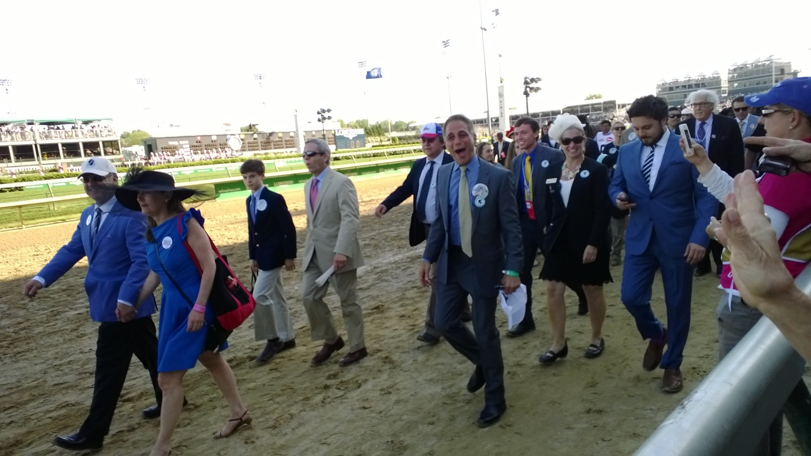 "Tony Danza walking his horse, ""Danza"" to the starting gate. Danza ran 3rd in the Kentucky Derby (Tony Danza doens't own the horse, it's named after him.)"