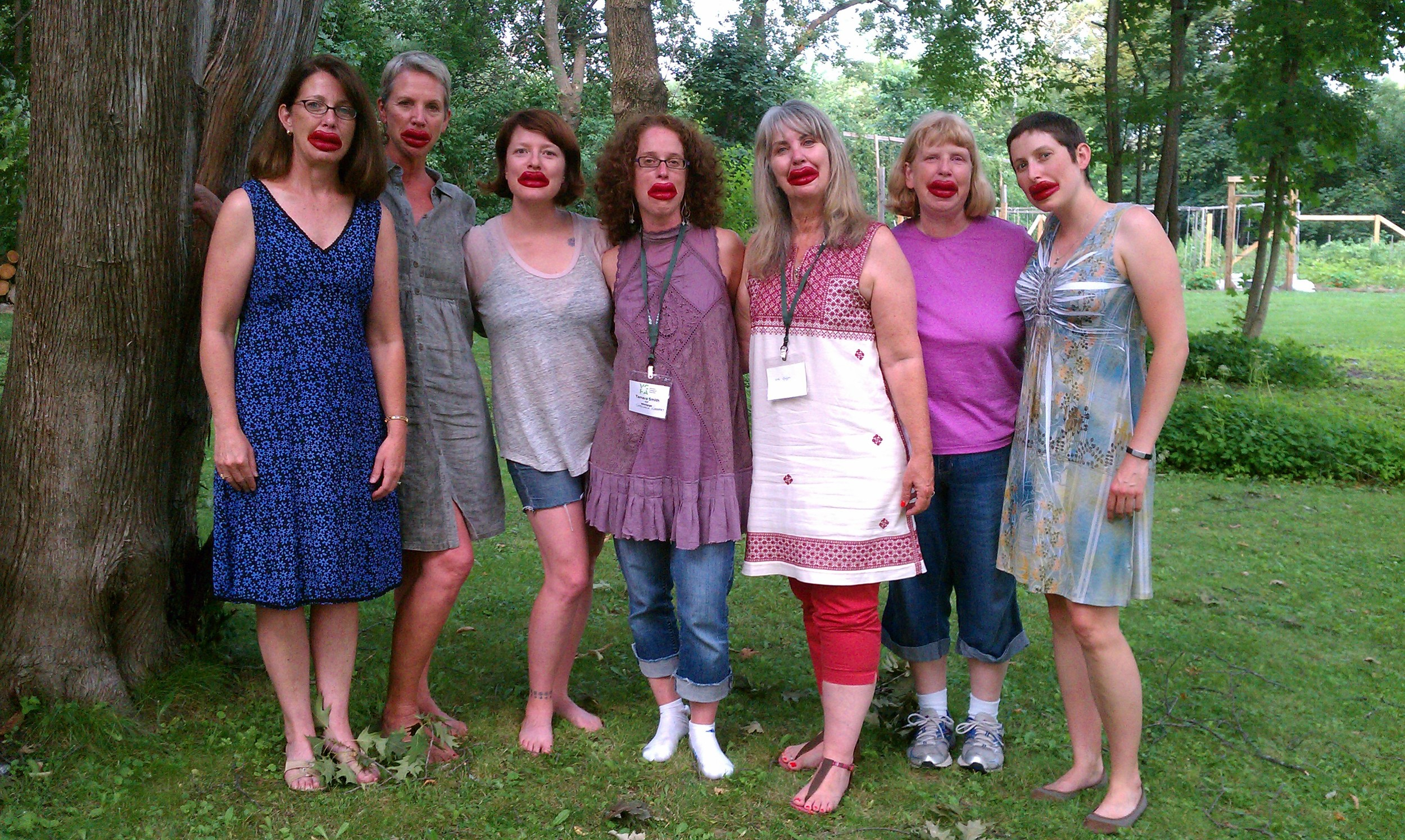 Summer of 2014 Unreliable Narrator retreaters (The rest of the pack missed out on the lips)   L-R: Kerry Castano, me, Katie Mather, Tam Smith, Cynthia Granberg, Cindy Faughnan, Trinity Peacock-Broyles