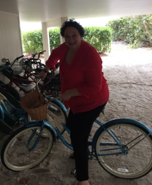 Speaking of ride: here's Marilyn trying out the beach cruiser.
