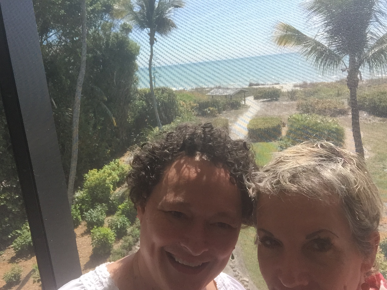 """Marilyn and me myIst morning on Sanibel, the view from """"Beach Baby's"""" lanai."""