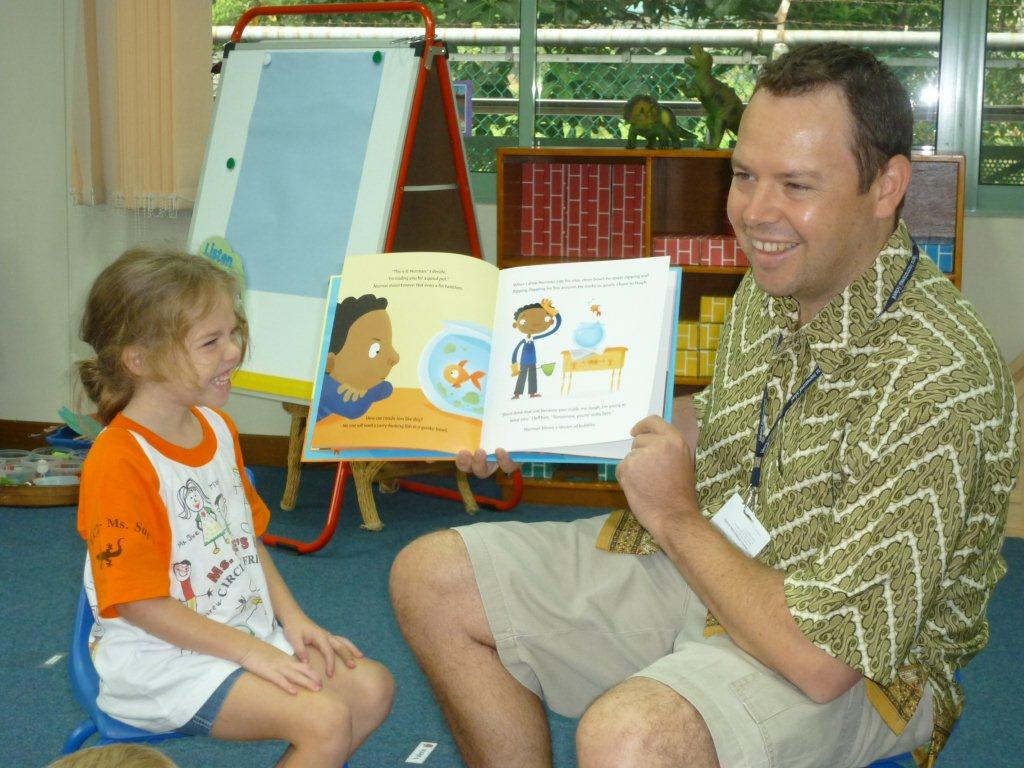 Robin Barker sent this photo of her friend reading Norman to his daughter's class.