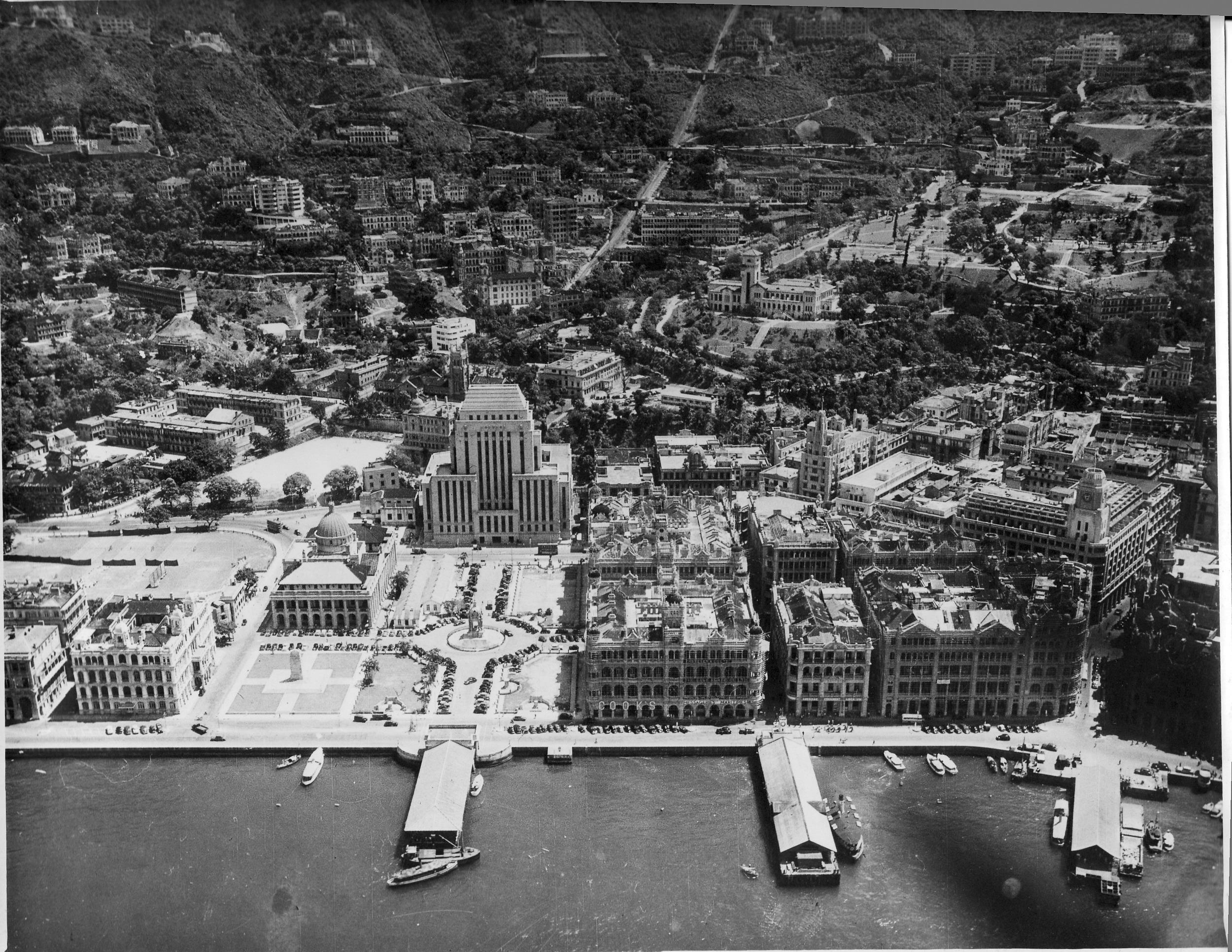 The Hong Kong and Shanghai Bank dominates central Hong Kong, postwar photo