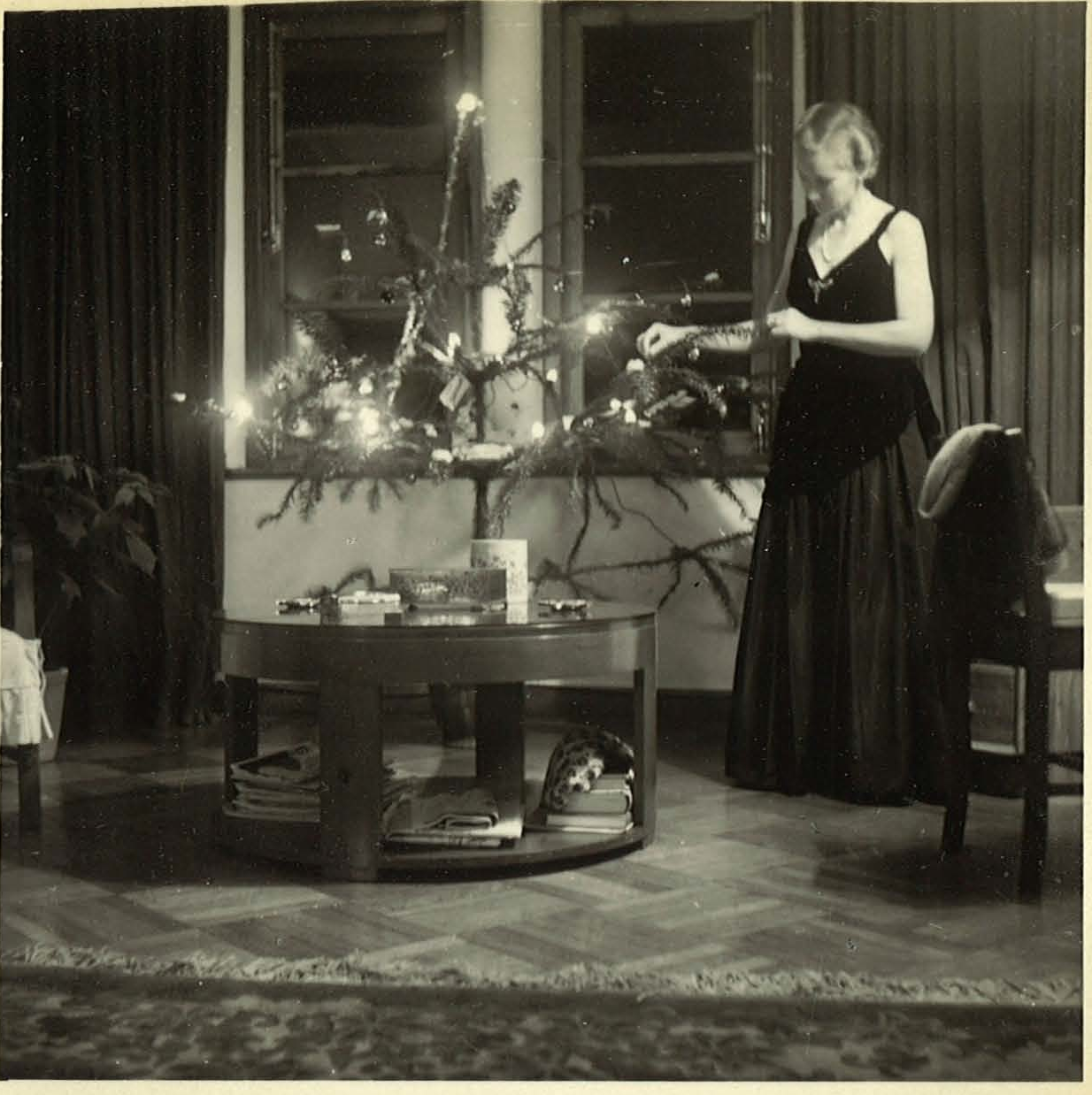Audrey preparing for their final Christmas at Branksome Towers, 1950
