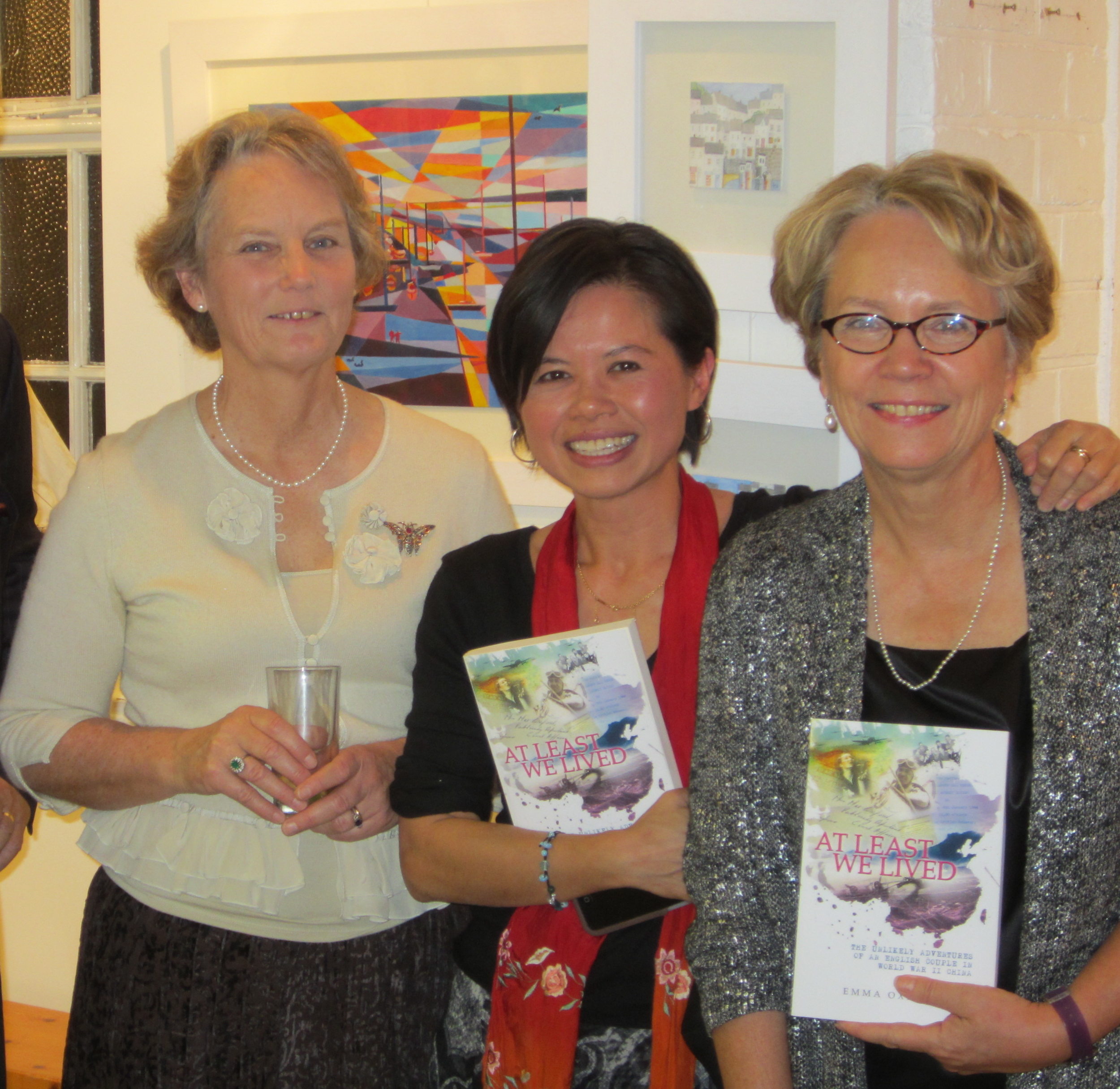 My sister Frances (left) introduced me at Topsham Museum. We are pictured here with book designer, Cece Wong.
