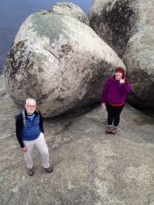 """""""With a former NPS Ranger as a father, I grew up visiting spectacular National Parks throughout the country, but I've come to learn that sometimes we forget about the hard work taking place at smaller parks in our own backyard."""" -Rebecca Long, CCC Volunteer, with her father on Old Rag Mountain in Shenandoah National Park."""