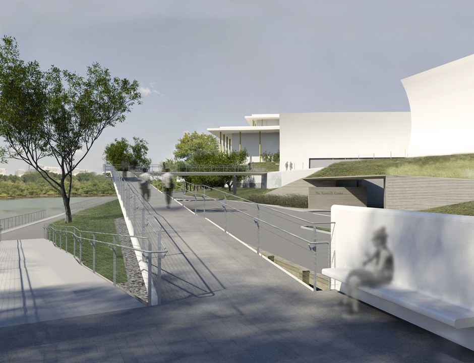 An artistic rendering of the pedestrian bridge that will extend from the kennedy center to the potomac river.