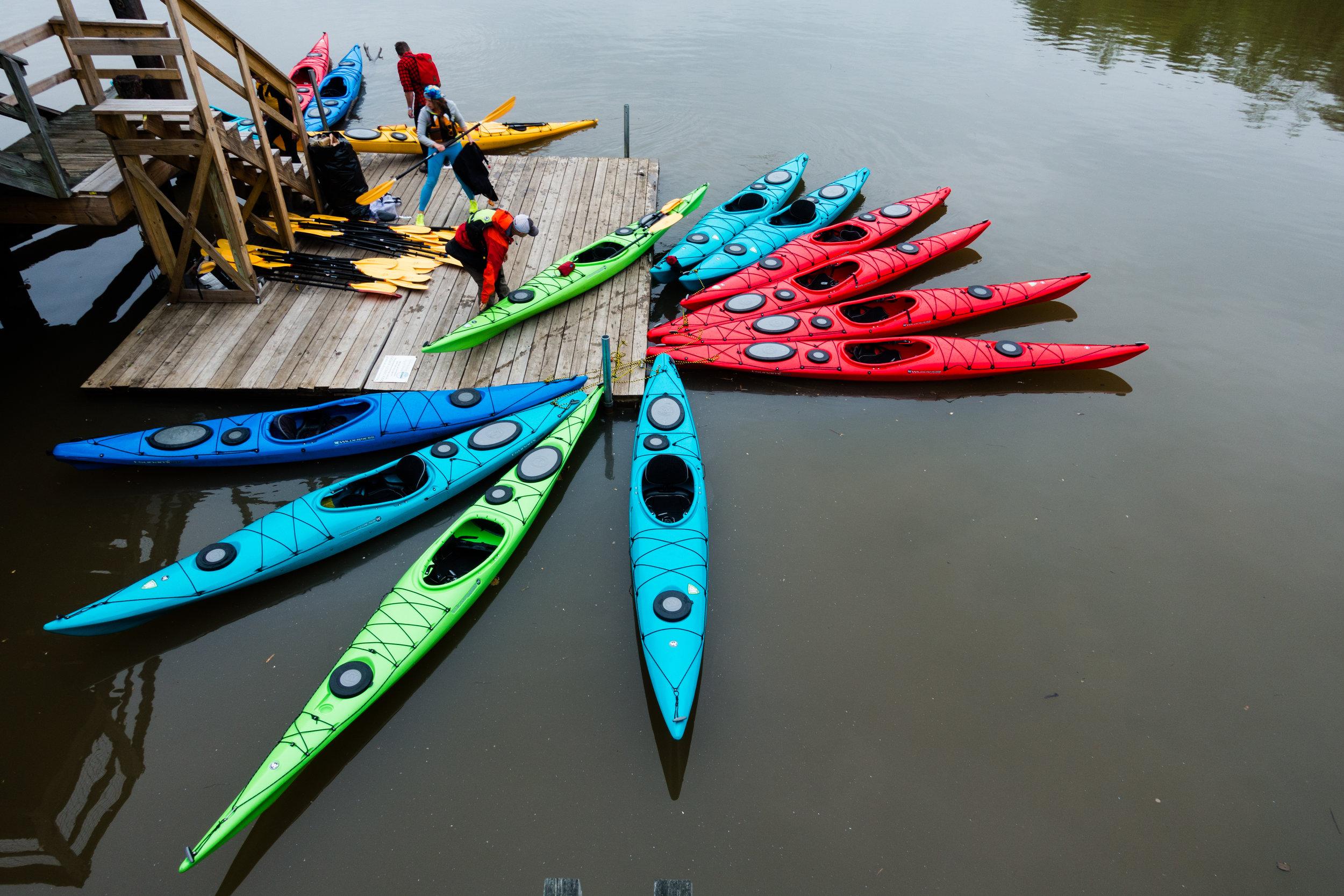 Kayaks on the Anacostia River near Kingman Island in Washington, D.C., Photo by Will Parson/Chesapeake Bay Program